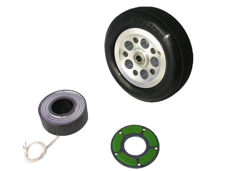Wheel 115 mm with electromagnet and brake disk + E-Brake (2 uds)