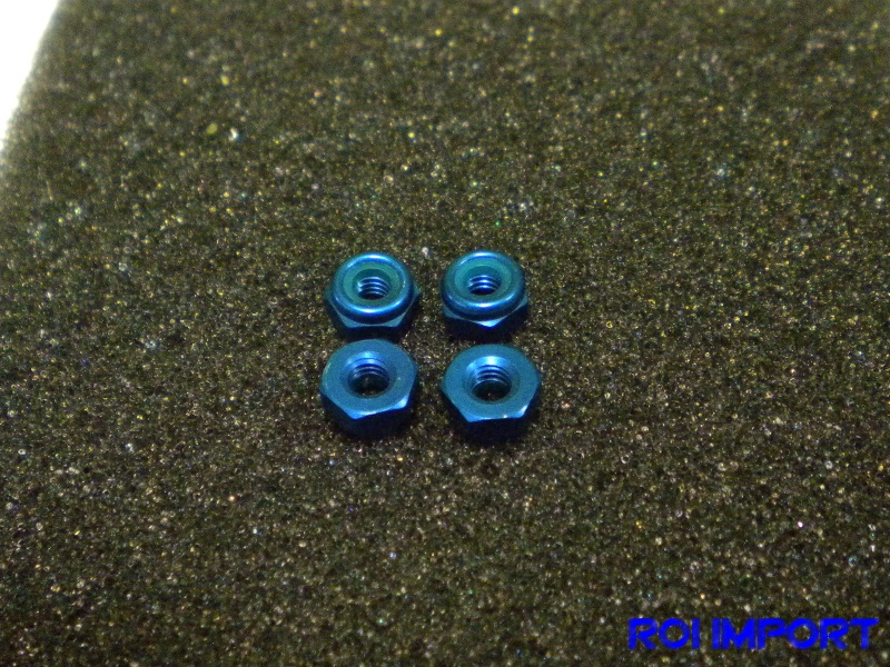 Blue Aluminium lock nut M3 (4 pcs)