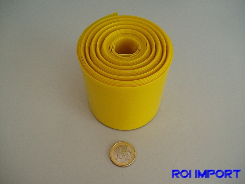 PVC termo-retráctil batería 68 mm amarillo transparente (1 m)