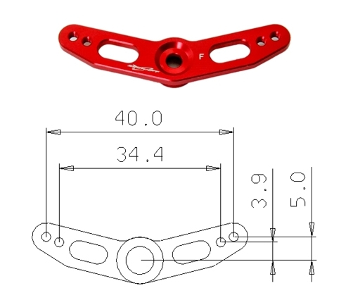 Red aluminium double servo arm FUTABA 40 mm M3 F3A