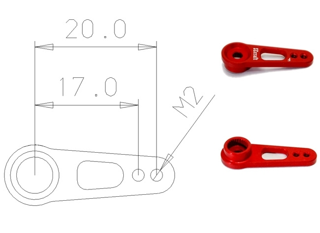 Red aluminium servo arm V1-Futaba 20 mm M2
